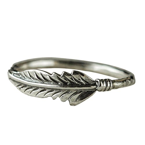 Antique Ring Silver Plated - Afco Retro Antique Silver Plated Feather Finger Ring Women Christmas Charm Jewelry Antique Silver 9