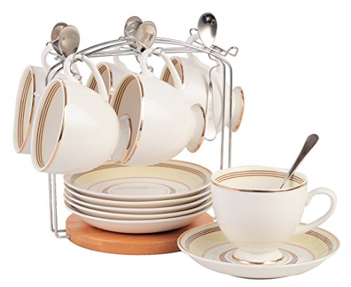 Jusalpha Fine China Tea Cup and Saucer Set-Coffee Cup Set with Saucer, Spoon and Teacup Holder (FD-TCS16 (6) ()