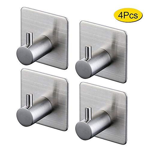 Towel Hook Self Adhesive SUS 304 Stainless Steel Brushed Nickel Bathroom Kitchen Robe Organizer (4-Pack)