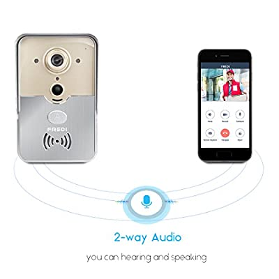 FREDI Smart Home WiFi Remote Video Door Phone Intercom Doorbell Camera HD 720P Support P2P Alarm IR Night Vision Supports iOS/Android System
