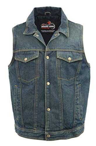 Men's Denim Club Style Vest | Concealed Gun Pockets, Shirt Collar, Snap Front Closure | Rustic and Casual Blue Jean Biker Vest (Blue, Large)