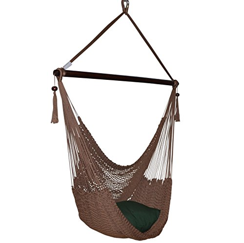 (Caribbean Hammocks Large Chair with Footrest - 48 Inch - Polyester - Hanging Chair - Mocha)