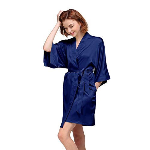 Satin Robe Short Kimono Birdesmaid Robes Women Bathrobe Soft Sleepwear Loungewear Spa Robe, Navy - Wholesale Satin Bridal