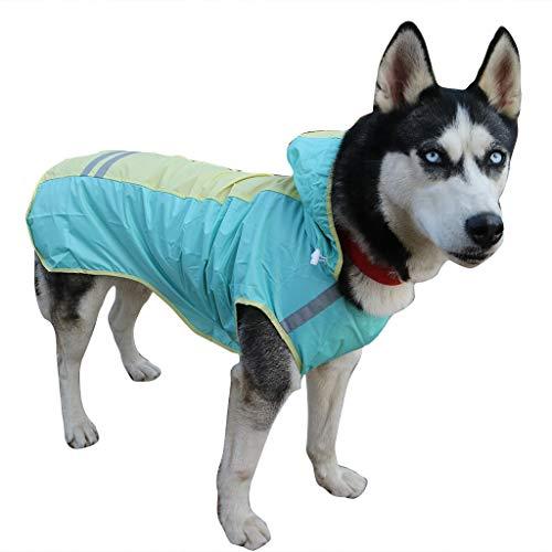 Pet Raincoat,Hooded Waterproof Lightweight Reflective Rain Jacket Dog Poncho (S, Green)