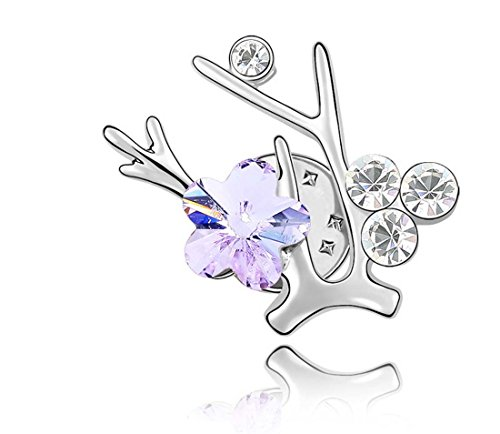 Branch Flower Plum (Silver Plated Austria Crystal Plum Flower Branch Brooches Pins for Women Girl Christmas Gift (White))