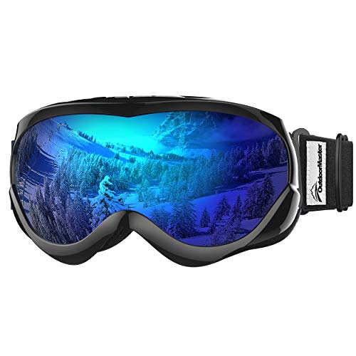 OutdoorMaster Kids Ski Goggles - Helmet Compatible Snow Goggles for Boys & Girls with 100% UV Protection (Black Frame + VLT 15% Grey Lens with Full REVO Blue)