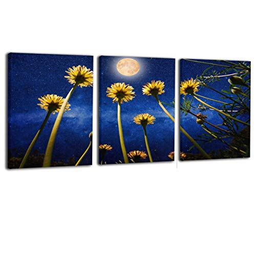 (Paulino Yellow Daisies and The Universe with Full Moon Modern Canvas Painting Wall Art Pictures for Home Decoration Print On Canvas Giclee Artwork Wall Decor 16