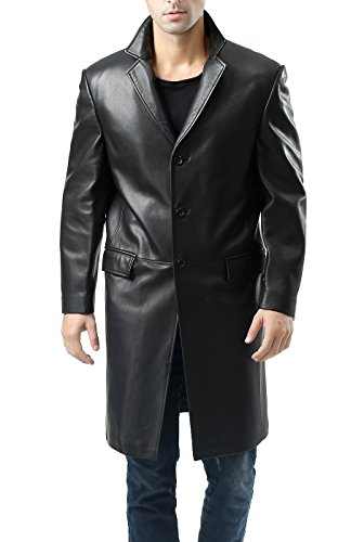 BGSD Men's New Zealand Lambskin Leather Long Walking Coat - Black M (Black Leather Mens Coat Jacket)