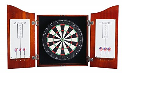 Blue Wave Dartboard Cab Set - Dark Cherry