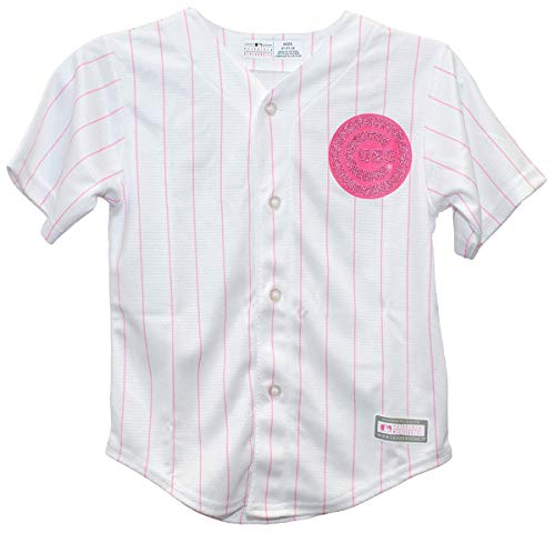 Outerstuff Chicago Cubs Pink Glitter Logo Toddler Cool Base Jersey (2T) ()