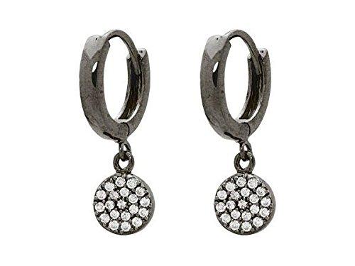 Gunmetal Black Cubic Zirconia Disc Dangling Huggie Earrings in Sterling Silver ()