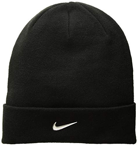 NIKE Kids' Unisex Beanie, Black/Metallic Silver, One Size