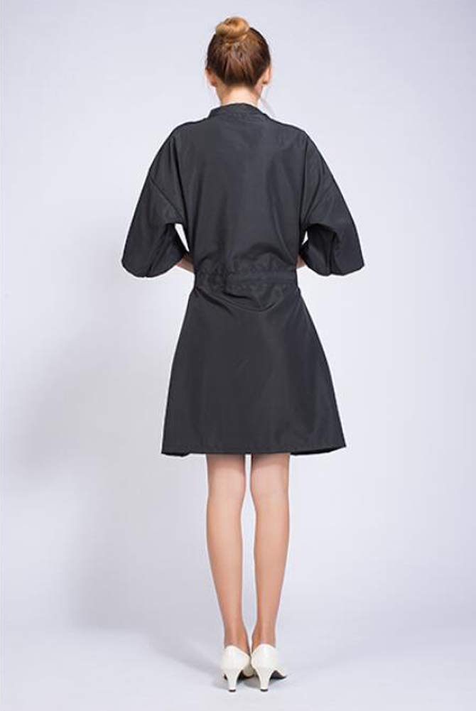 Case of 10 Packs, Kimono Style Salon Client Gown Robes Salon Smock Black by Lanburch (Image #3)