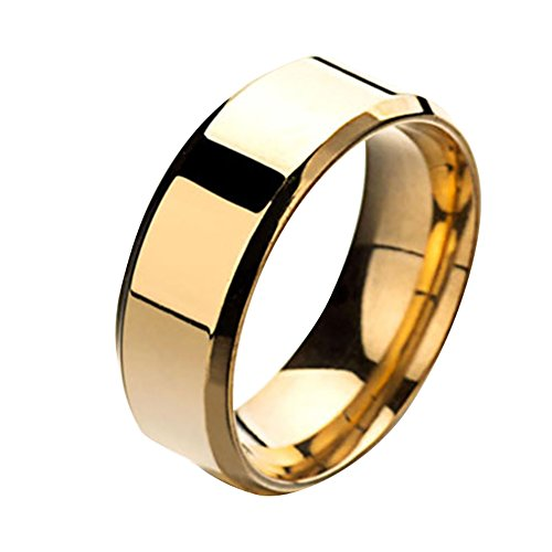 Wintefei Fashion Simple Unisex Lovers Stainless Steel Mirror Finger Rings Jewelry Gifts - Golden US 5
