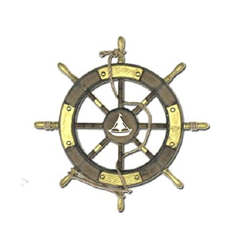 【Woliwowa】 オブジェ ビンテージ風 ヨット マーク入り 船の 舵輪 モチーフ ゴールドカラー [並行輸入品] B072ZBCCWH