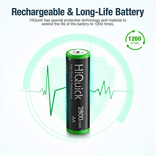 HiQuick 8 x AA Batteries, Rechargeable 2800mAh Battery, Ni-MH 1200 Recycle Times, High Capacity Performance, Pack of 8 with 2 Cases