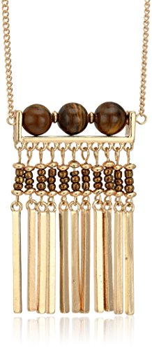 Steve Madden Tiger's Eye Geometric Tassel Pendant Necklace, 26.5