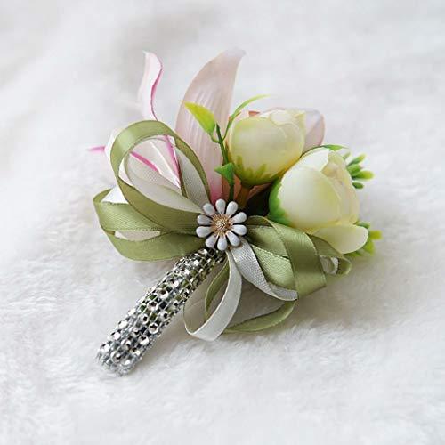 BROSCO Artificial Wedding Flowers Silk Rose Boutonniere Prom Groom Groomsmen Corsage | Color - Light Green Rose -