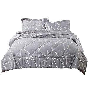Bedsure Tree Branch Floral Comforter King Size Grey Down Alternative Comforter Microfiber Duvet 3 Piece (1 Comforter + 2 Pillow Shams)