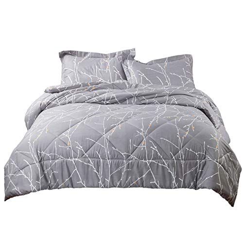(Bedsure Tree Branch Floral Comforter King Size Grey Down Alternative Comforter Microfiber Duvet 3 Piece (1 Comforter + 2 Pillow Shams))