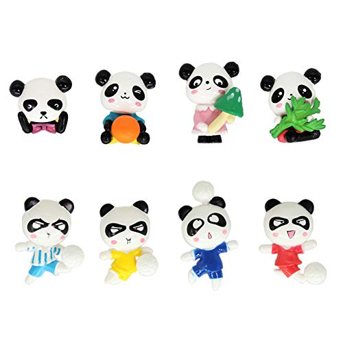 Used, LW 8 Pcs Kawaii Panda Miniature Figurine Toys Figurines for sale  Delivered anywhere in USA