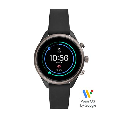 Fossil Women's Gen 4 Sport Heart Rate Metal and Silicone Touchscreen Smartwatch, Color: Grey, Black (FTW6024)]()