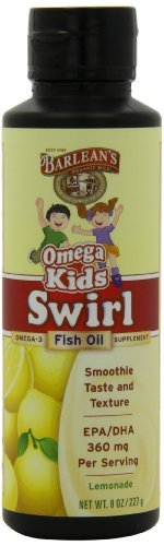 Barlean's Organic Oils Kid's Omega Swirl Fish Oil, Lemonade Flavor, 8-Ounce Bottles by Barlean's Organic (Oil Lemonade)