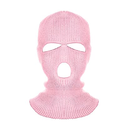 Idlespace New 3 Hole Helmet Warm Soft Motorcycle Helmet Winter Knit Hat Ski Neck Gaiter Army Tactical Neck Gaiter Full Face Cap(Pink): Home & Kitchen