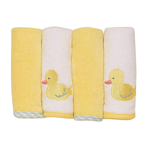 Little Me Duck 4-Pack Woven Terry Velour Washcloth Set (Ducks Leather Embroidered)