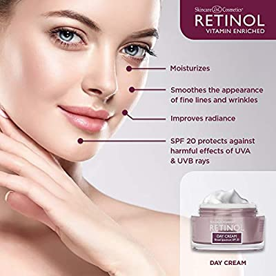 Retinol Day Cream Broad Spectrum SPF 20 – Protects Against Harmful Effects  of UVA & UVB Rays – Luxurious Cream Moisturizes & Reduces Look of Fine