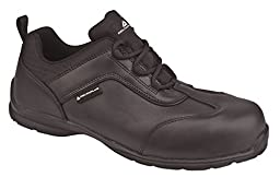 Deltaplus Men\'s Strategy Low Black Leather Work Safety Shoes US Size 13