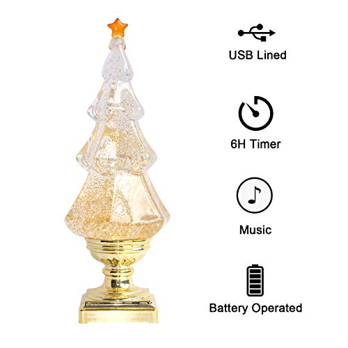Eldnacele Musical Light-up Glitter Christmas Tree, Christmas Tree Shaped Singing Snow Globe with Gold Base, Battery Operated or Plug in Powered Decorative Lamp, Gold with Music (Light Up Christmas Tree Battery)