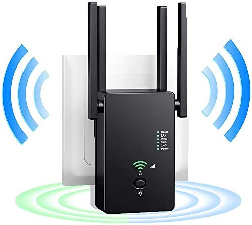 WiFi Range Extender, 1200Mbps WiFi Extender with 4 External Antennas Dual Band Mini Wireless Signal Booster, 2.4 & 5GHz Dual Band 802.11ac Standard Wireless Internet Amplifier