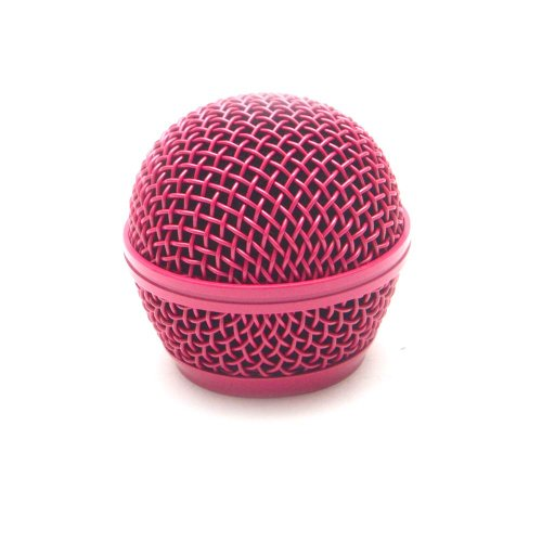 Seismic Audio SA-M30Grille-Pink Replacement Pink Steel Mesh Microphone Grill Head for Shure SM58, Shure SV100
