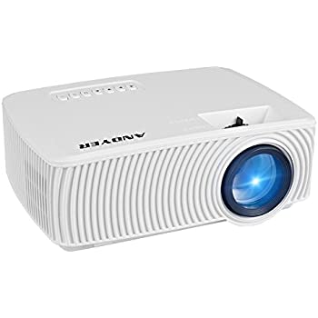 Andyer RD-816 Mini Portable Projector 1800 Lumens LED Mini Home Projector for Outdoor Indoor Movie,Home Theater HDMI VGA USB Support iPhone Andriod Smartphones,Laptops,Tablets,Blu-ray DVD player