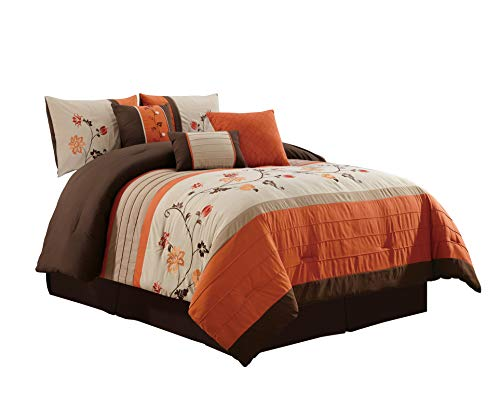 Chezmoi Collection 7-Piece Embroidered Floral Scroll Pleated Orange/Chocolate/Taupe/Tan Bedding Comforter Set (108