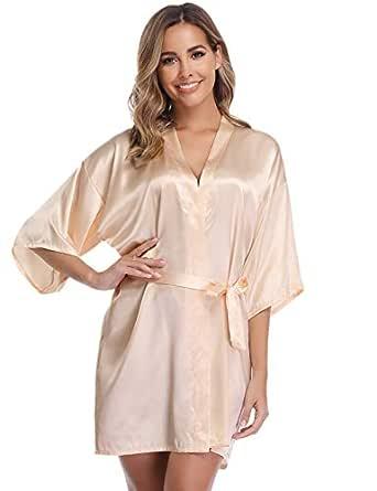 Vlazom Women Kimono Robes Satin Dressing Gown Short Silk Bridal/Bridesmaid Robe Nightwear with Oblique V-Neck (Beige, Small)
