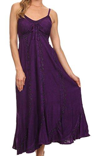 Sakkas-Allie-Stonewashed-Embroidered-Adjustable-Spaghetti-Straps-Long-Dress