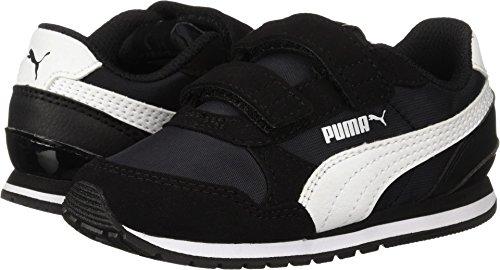 PUMA Baby ST Runner NL Velcro Kids Sneaker, Black White, 7 M US Toddler