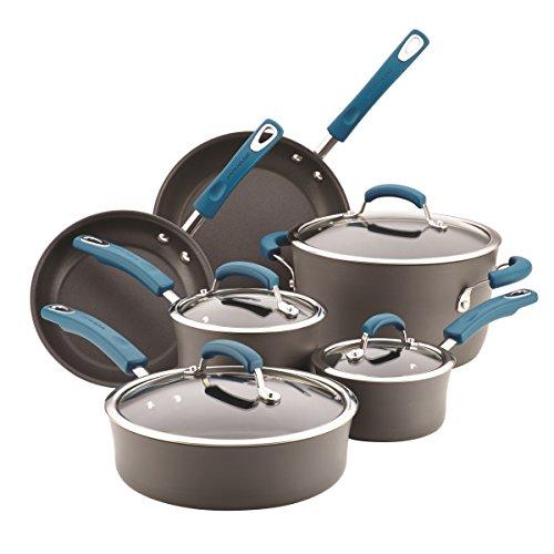 Rachael Ray Hard-Anodized Aluminum Nonstick Cookware Set, 10