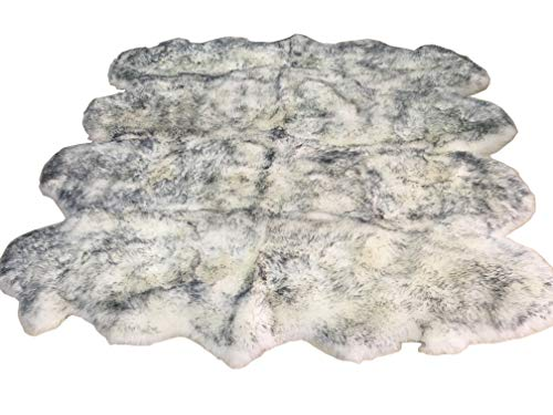 Rugs Sheepskin Octo - HUAHOO Genuine Sheepskin Rug Real White/Grey Sheepskin Blanket Natural Fur (Octo/6ft x 7.5ft, White/Gray)