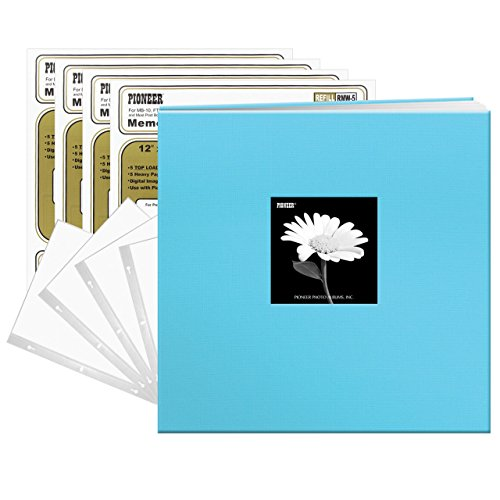 12' Postbound Scrapbook - Pioneer Photo Albums Pioneer Turquoise Blue Fabric 12x12 Frame Cover Post-Bound 40 Pages (20 Sheets) Scrapbook