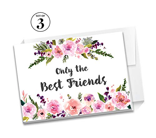 Set of 3 Cards Pregnancy Announcement Best Friends Promoted to Aunt C140-3F (3f Watercolor)