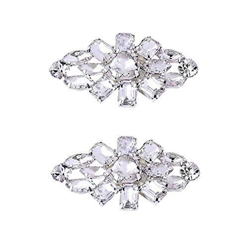 Polkar 1 Pairs Elegant Rhinestone Crystal Metal Shoe Clips Shoe Buckle for Wedding Party Decoration (Diamond Silver) (Crystal Clip Shoe)