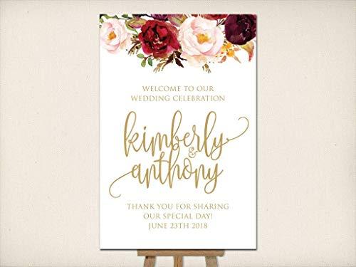 Dozili Wedding Welcome Sign Large Mounted Wedding Poster Reception Sign Ceremony Sign Elegant Flowers Script DIY Wedding Sign Bernice 12