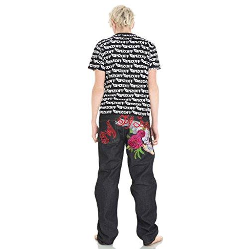 Pizoff Ricamo Skull J9160 Stampa Denim Harem Hop Baggy Jeans Hip Uomo SFqSr
