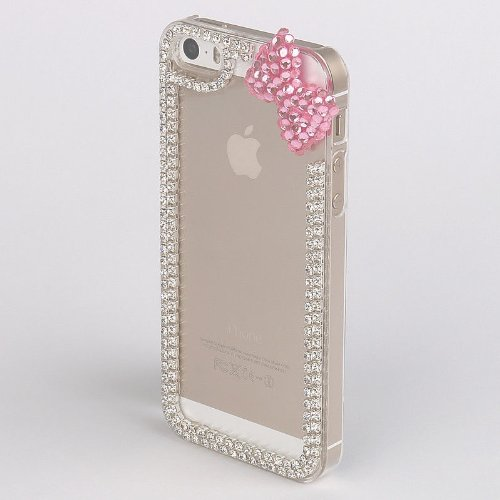 Handmade Ribbon Bow Luxury Designer Bling 3D Special Crystal Case Cover For Samsung Apple Smart Mobile Phone (iPhone 5 5S, Pink Bow)