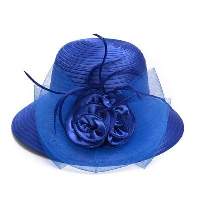 GONGFF Women Summer Hat Feather Satin Veil Wide Brim Sun Hat Floppy Uv Protect Beach Hat Dress Wedding BlueBeach Hats Wide Brim Floppy Packable Adjustable