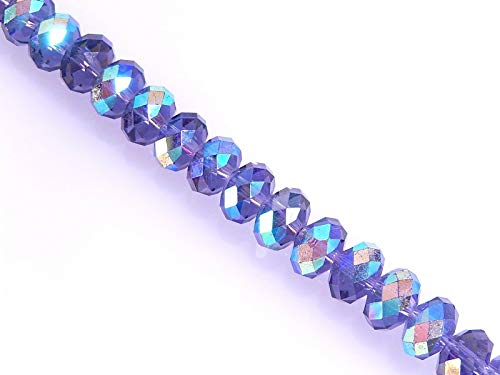 58 Celestial Crystal Faceted Purple Aurora Borealis 8x10mm Round Rondelle Beads