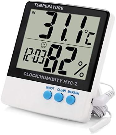 CHenXy 屋内と屋外の電子サーモ湿度計、LCDデジタル温度計、高精度温湿度計、家庭、オフィス、ベビールーム、倉庫、ホワイト 湿度計温度計 (Color : White)